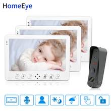 HomeEye 10 inch Video Door Phone Video Intercom Doorbell Voice Message Rainproof Video Record Unlock Door 1-3 Home Access System yobangsecurity home video intercom 7 inch hd visual door doorbell rfid 6 unit apartment access control system video door phone
