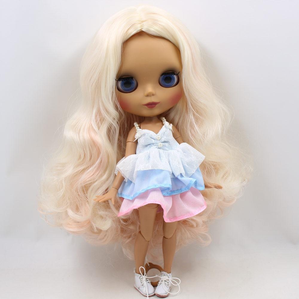 ICY Nude Blyth puppe Keine. BL2352/3139/340 Blonde mix Rosa haar ohne pony JOINT körper Schwarz haut Matte gesicht 1/6 BJD-in Puppen aus Spielzeug und Hobbys bei  Gruppe 1