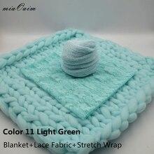 Handmade Blanket+Lace Fabric+Knit Stretch Wrap Full Set for Newborn Baby Photography Props Receiving Blankets Basket Filling недорго, оригинальная цена