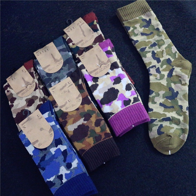 PEONFLY Long Canister Men cotton Camouflage happy funny Tide Socks calcetines meias masculino 1pairs