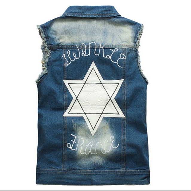 2015 spring new trend men's denim vest high quality sleeveless jackets men cotton jeans vest Waistcoat Gilet