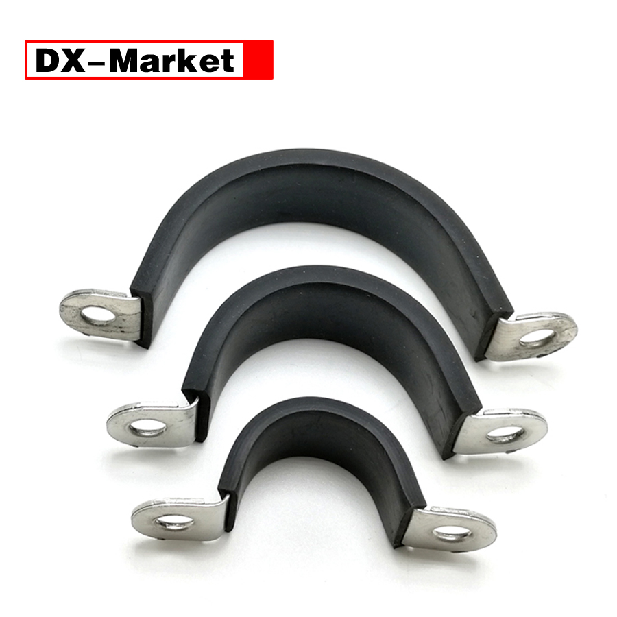 6mm-60mm Saddle Clamp cable fixing clip , carbon steel C type rubber clamps 35mm 110mm 304 stainless steel saddle clamp antirust cable clip water pipe fixing bracket clamp
