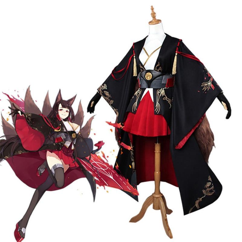 Azur Lane Akagi Costume de Cosplay personnalisé fille robe champ de bataille Kimono porte-avions longue perruque oreilles queue Halloween