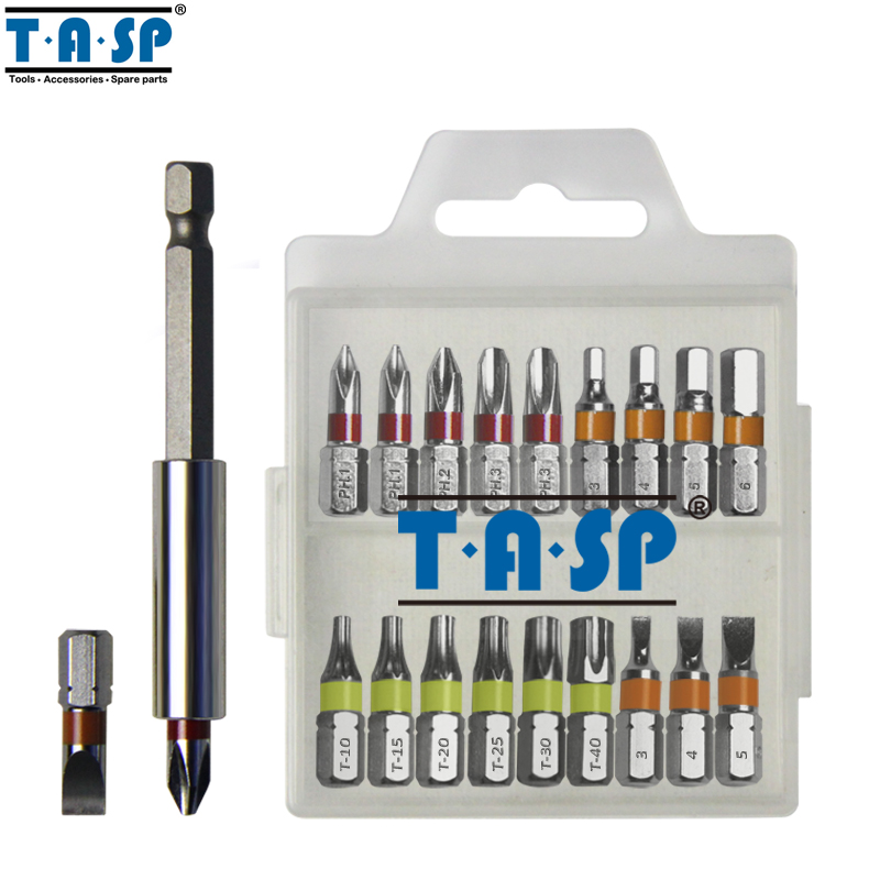 TASP 20PC Colour Coded Screwdriver Bit Set  Head PH Torx Flat Hex with Magnetic Holder ninth world 50pc extra long bit set 75mm long quick release screwdriver bit holder security bit set hex bit