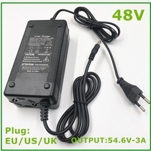 54.6V 3A Battery Charger For 13S 48V Li-ion Battery electric bike lithium battery Charger High quality Strong heat dissipation hk liitokala 54 6v 2a charger 13s 48v li ion battery charger output dc 54 6v lithium polymer battery charger free shipping