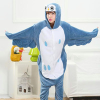 HKSNG Adult Winter Flannel Cartoon Animal Owl Kiguruma Pajamas Onesie For Women And Men