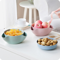 2 In 1 Fruit Candy Dish Snack Nutshell Holder Plastic Plate Decorative Serving Tray Storage Bowl