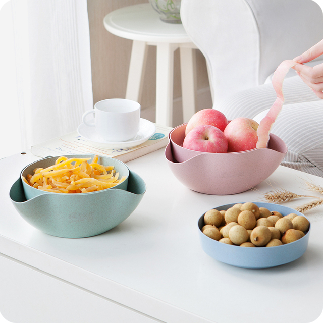 Aliexpress.com : Buy 2 In 1 Wheat straw Fruit Candy Dish Snack ...