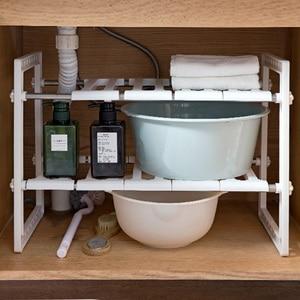 Image 3 - OTHERHOUSE Mutfak Lavabo Altında Depolama Raf Raf Çift Katmanlı Ocak Tutucu Dolabı Organizatör paslanmaz çelik mutfak lavabosu Raf