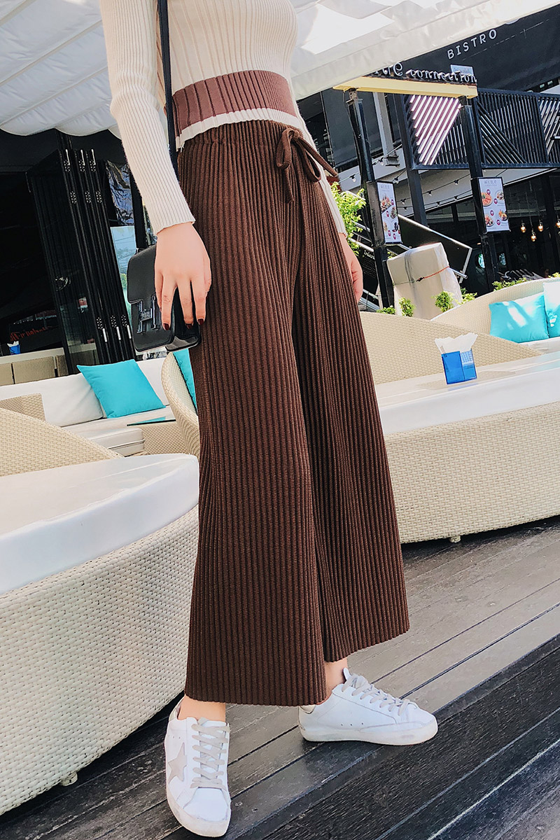 2018 Spring Women Pants New Korean Women's High-waist Pants Thread Wide Leg Pants Loose Thin Knit Women Trousers 6