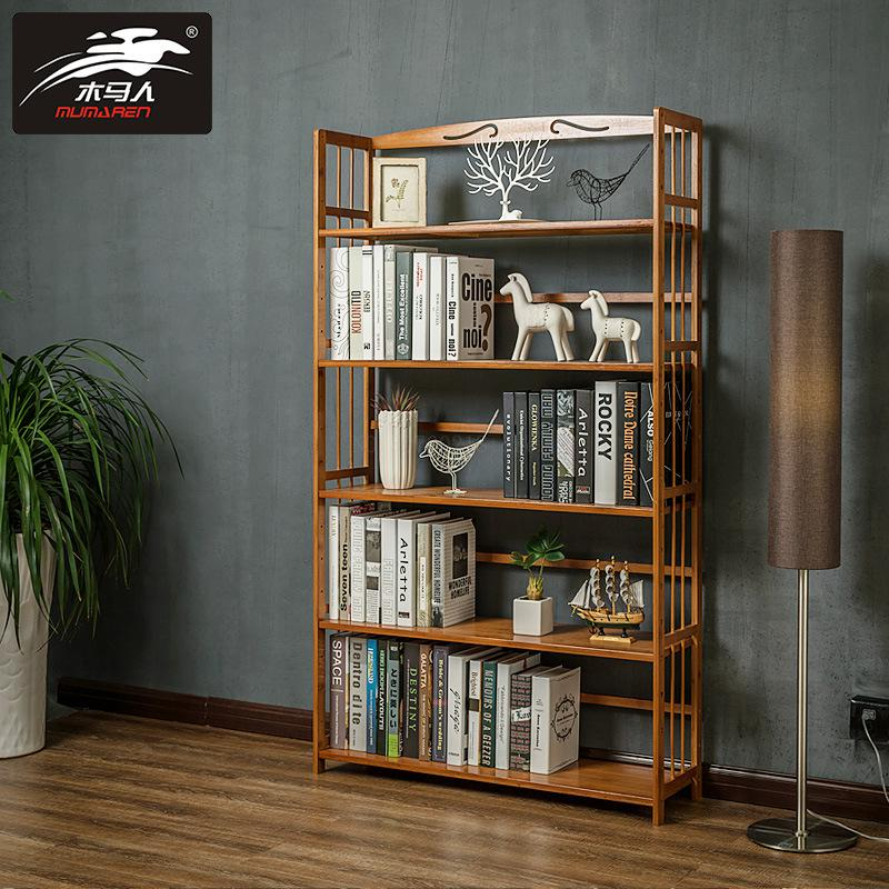 Solid Wood Bookshelf Elegant Book Display Rack Standing Living Room Shelves Kitchen Storage Books Magazine Organizer