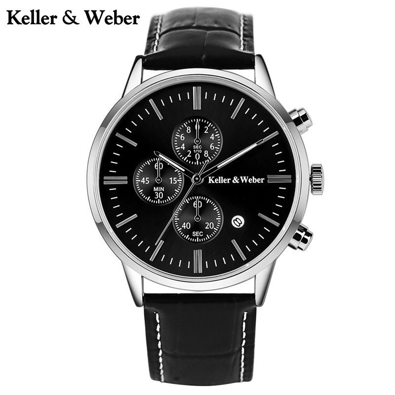 Keller & Weber Chronograph Mens Watches Top Brand Luxury Formal Mineral Glass Genuine Leather Strap Auto Date Wrist Watch keller