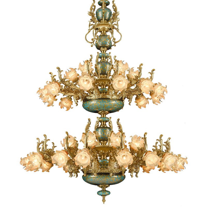 Star Hotel LED ceramic lamp chandelier Led Lampadario living room chandeliers zinc alloy luxury French style villa Church lamps|Chandeliers|   -