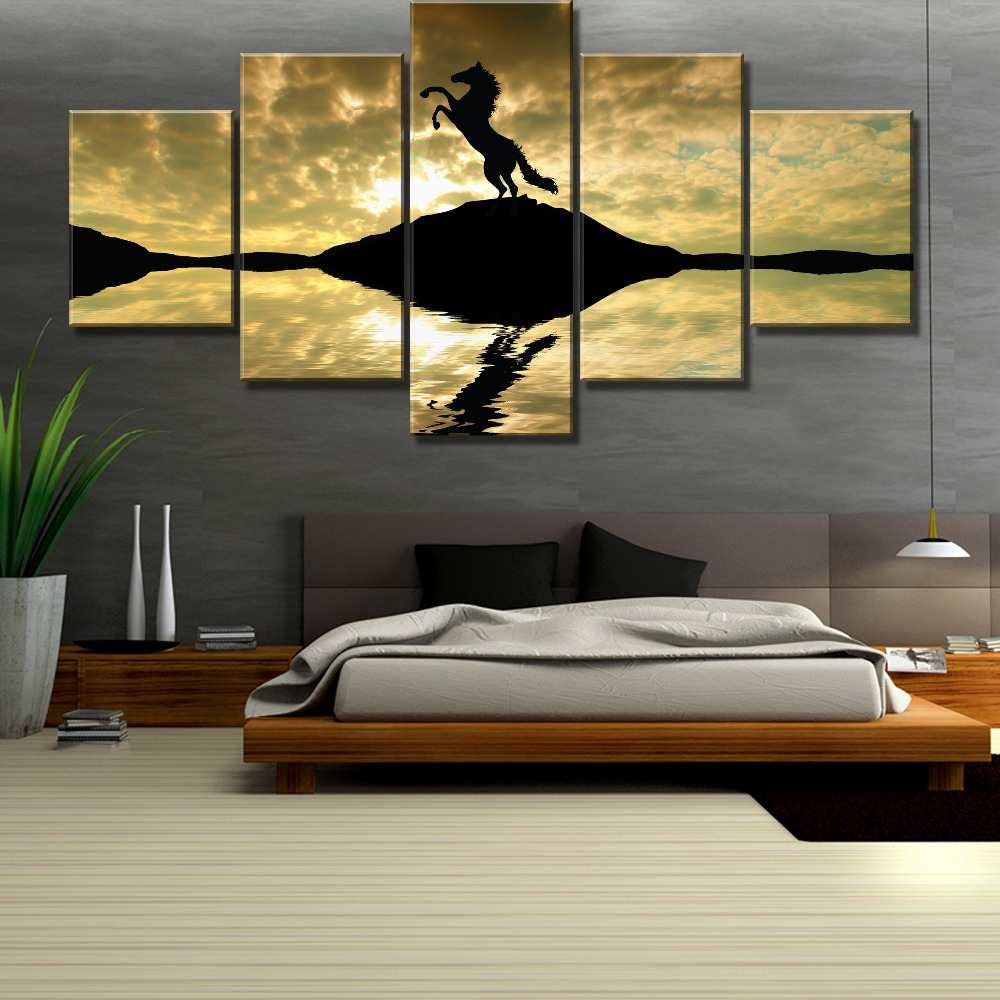 HD Print 5 Piece Home Decor Horse Silhouette Sunset Painting Canvas Wall Art Picture Home Decoration Living Room Canvas Painting