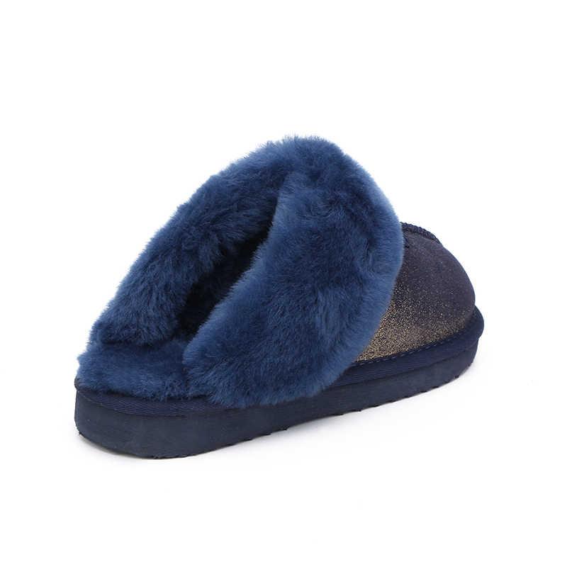 ה-MBR כוח אופנה חם נשים נעלי טבעי פרווה נעלי בית כפכפים חורף זמש נעלי בית אישה מקורה נעלי צמר נעלי בית