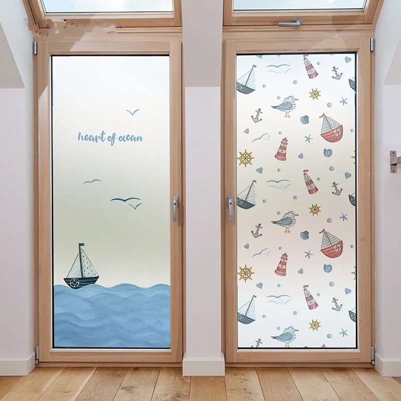 Ocean Customiz Frosted Glass Film Static Shark Baby Room Bathroom Balcony Mediterranean Privacy Window Stickers Home Decoration