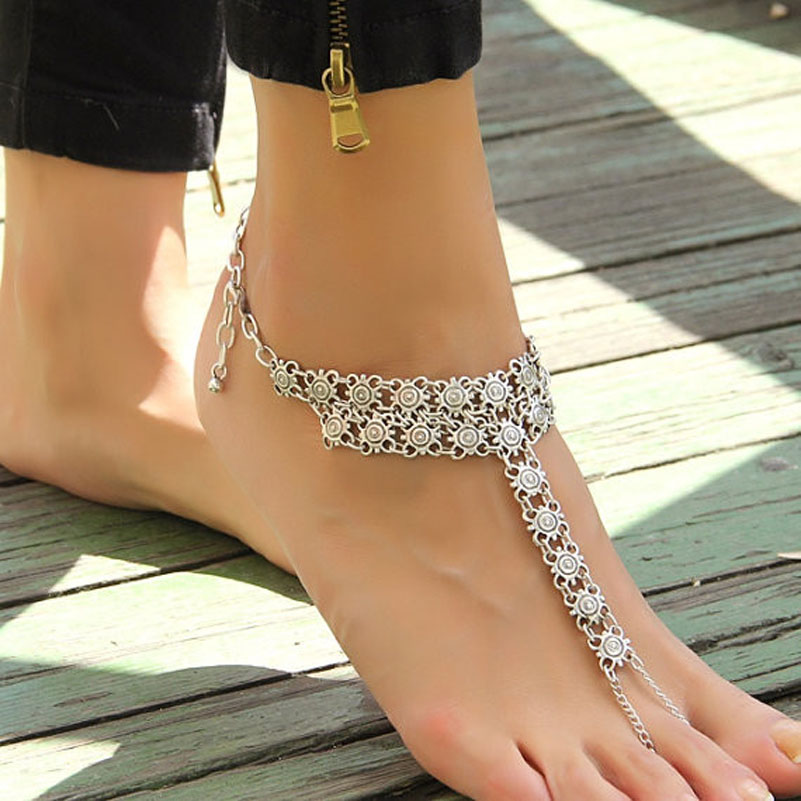 Bohemian Boho Turkish Silver Antalya Metal Flower Anklet Bracelet Gypsy Foot Sandal Beach Ankle Chain Wholesale 6Pcs