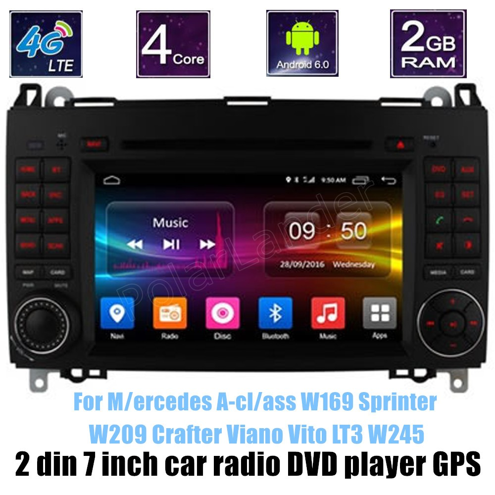 WIFI Android 6.0 GPS Car DVD Player Bluetooth For B-ENZ A-cl/ass W169 S/printer W209 Crafter Viano Vito LT3 W245