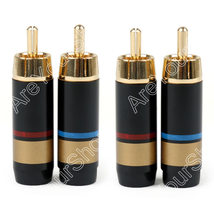 Areyourshop Sale 4PCS Copper RCA Plug Audio Cable Male Connector Adapter Connector Soldering Phono Male for 6.6mm Cable areyourshop sale 50pcs 5color 2mm gold banana male plug audio adapters for instrument test probes m