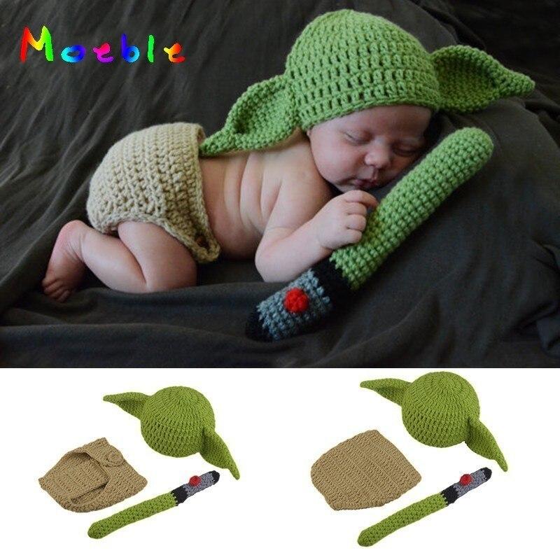 Quente Chapéu Gorro de Crochê Bebê Yoda Recém-nascidos Menino Dos Desenhos Animados Do Traje Fotografia Props Natal Outfits Infantil Fotografia Acessórios