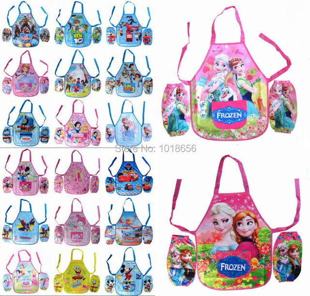 US $499 0 |DHL LOTS 100 Set MIX Elsa Anna Snow White Princess spiderman Toy  story HELLO KITTY Kids Cartoon With Apron Sleeves Set Wholesale-in Aprons