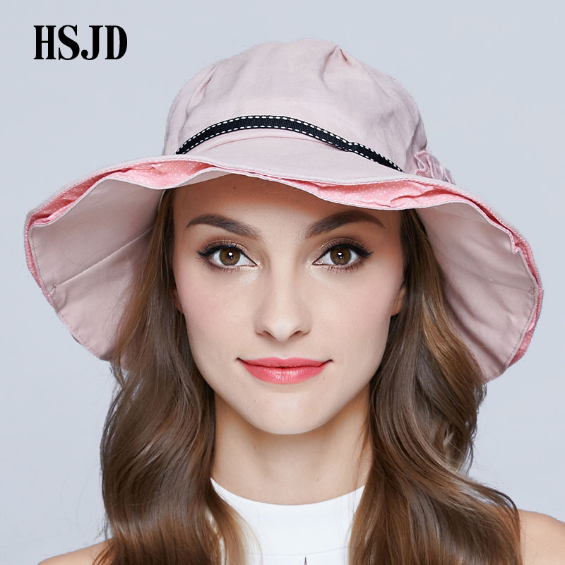 Women Cloth Sun Hat Flower and Ribbon Wide Brim Foldable Sun Cap 2018  Summer New Female Anti UV Bucket Beach Hat Sunscreen Visor-in Sun Hats from  Apparel ... e01c09ef2110