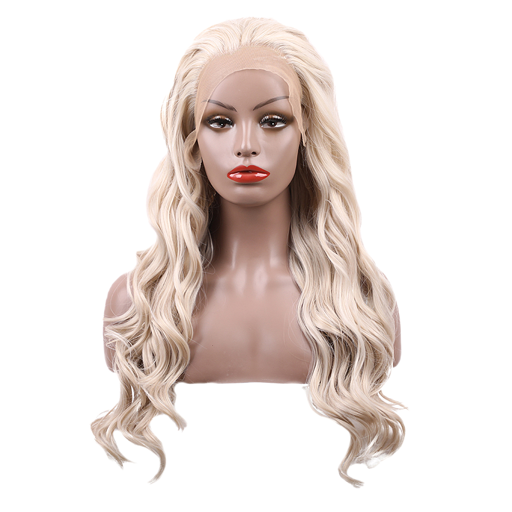 20 Inch Lace Front Long Curly Full Wig Heat Resistant Synthetic Hair Wigs Beige стоимость