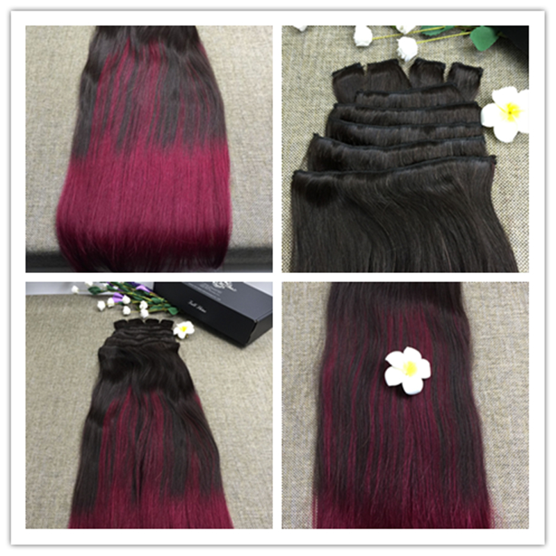 Full Shine Ombre Color 2 Fading To Poison Berry 9 Pcs Clip Hair