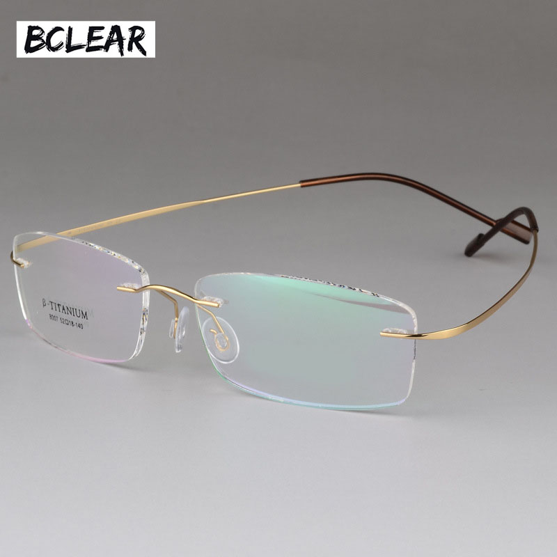 BCLEAR High Quality Pure Titanium Unisex Rimless Optical Frame Memory Thress-piece Rimless Glasses For Men And Women Comfortable