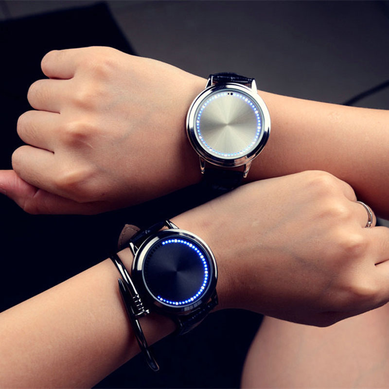 Personality Minimalist Leather Normal Waterproof LED Watch Men And Women Couple Watch Smart Electronics Casual Watches 2019