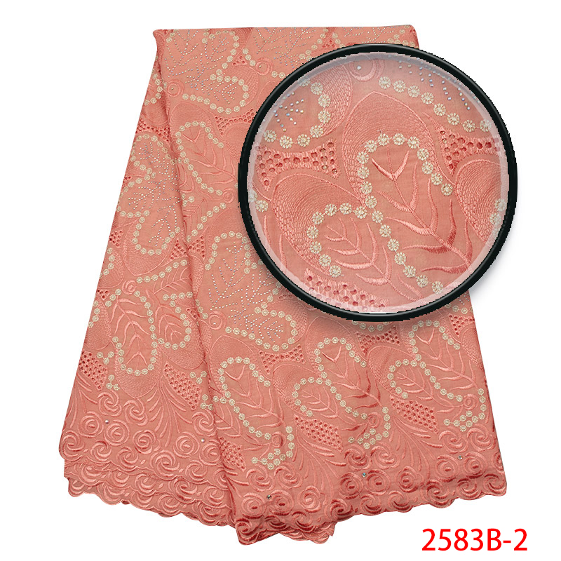 African Lace Fabric 2019 High Quality Lace Voile Lace Fabric New Design Swiss Voile Stones Lace Switzerland Add Stones YA2583B-2