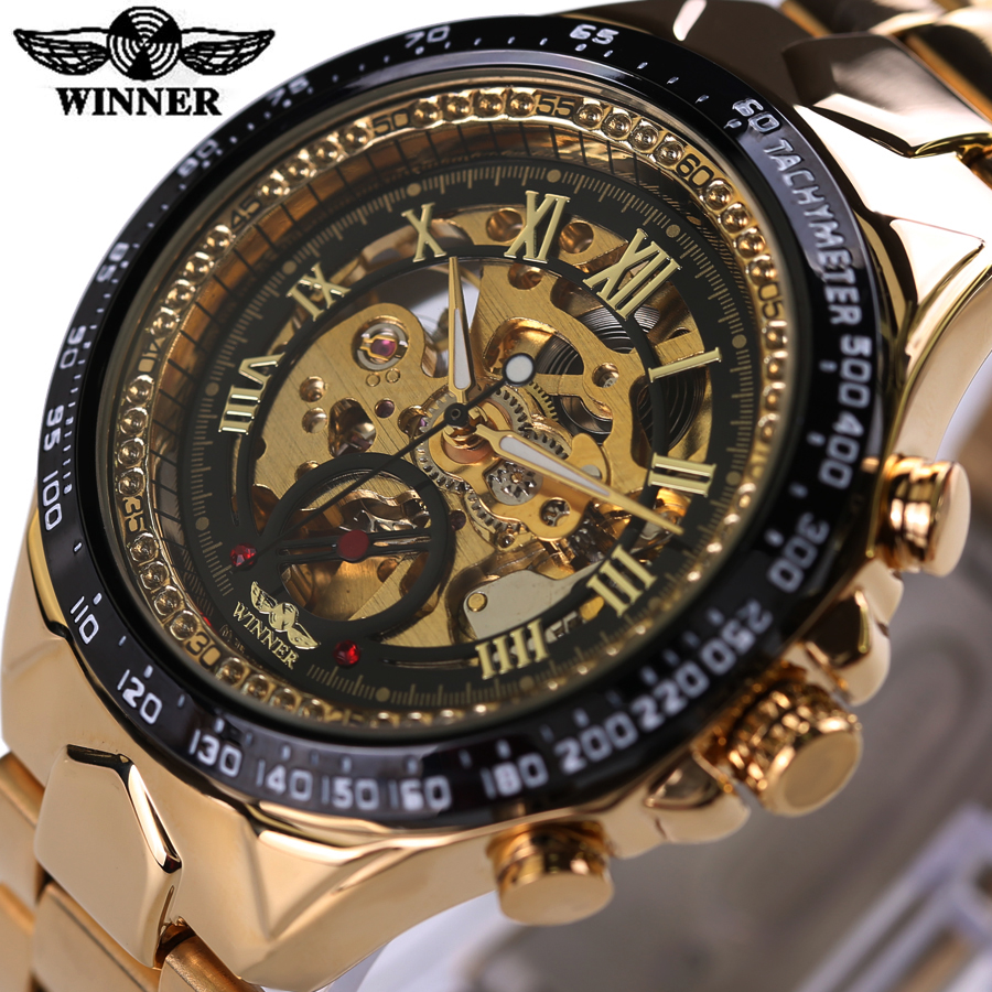 Winner Stainless Steel Gold Watch Number Bezel Sport Design Mens Skeleton Watches Top Brand Luxury Automatic