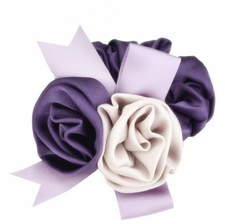 60pcs DHL Free Shipping Lady Two Tone Chiffon and Ribbon Rosette Hair tie Korean Hair tie