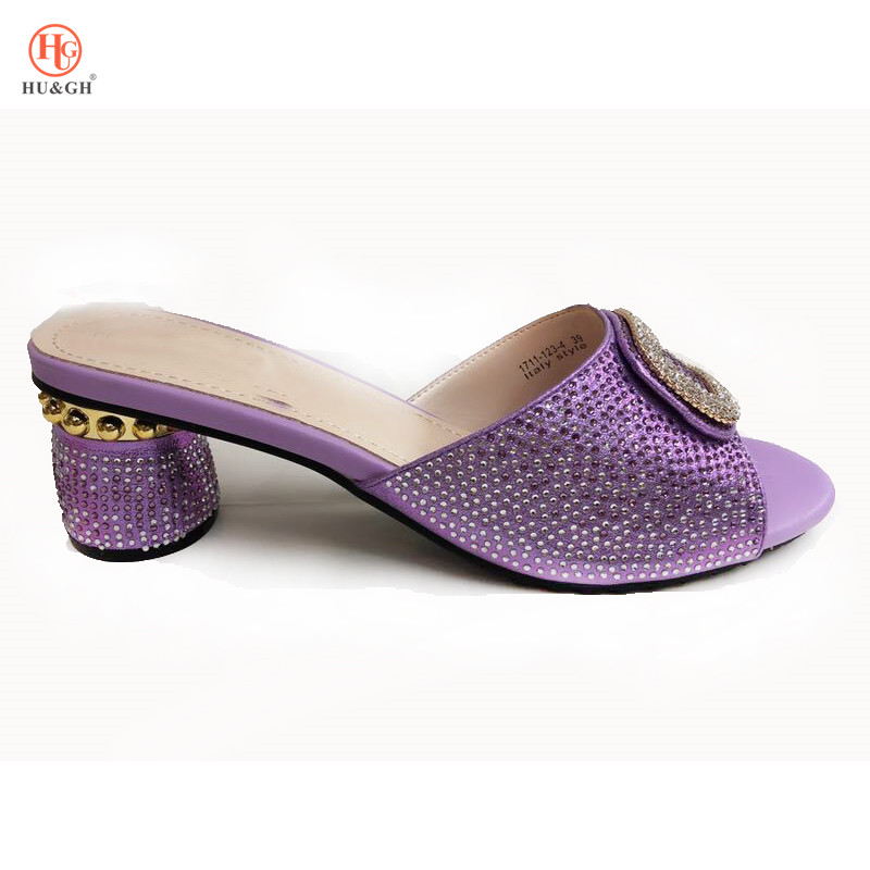 New 2018 Purple Color Italian Ladies Sexy High Heels Shoes Women Pumps Rhinestones Ladies Pumps African Sandal Shoes for Parties