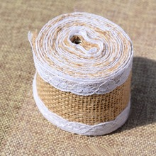 2 Pcs Linen Roll Love Lace Lace Ribbon Trims Tape Roll Vintage Rustic Wedding Decoration Mariage Wedding and Party Supplies