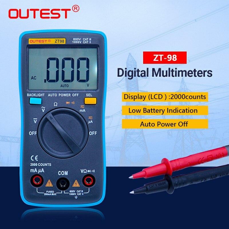 Portable  Auto range digital multimeter ZT98 1999 counts AC/DC current voltage 550V protection in Resistance,Capacitance