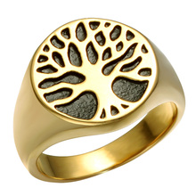 HIP Punk Gold/Silver Color Cool Titanium Stainless Steel Couple Rings Wisdom Tree Of Life Rings for Men Jewelry