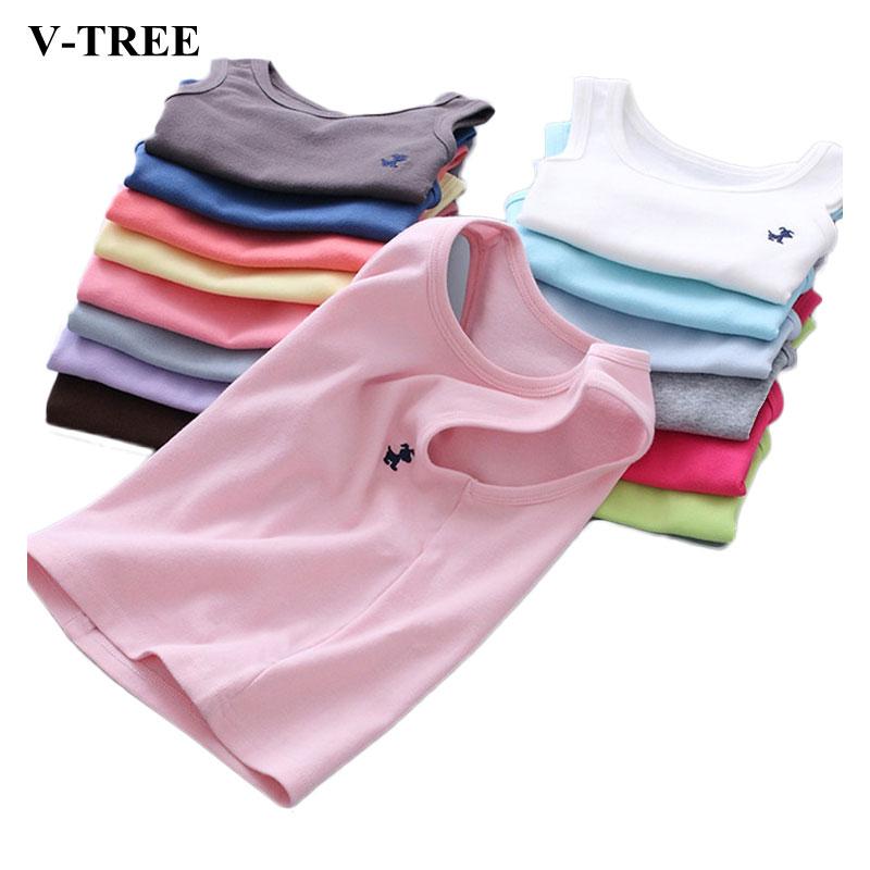 V-TREE Boys T-Shirt Underwear Model Singlets Girls Tops Baby Kids Cotton Children Camisole