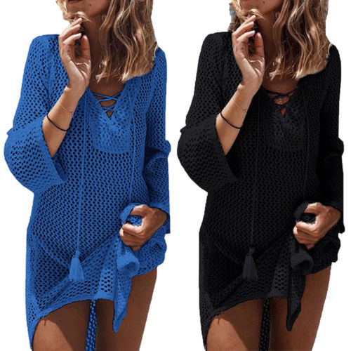Women Lace Crochet Summer Beach Bikini Cover Ups Long Swimwear Dress Bathing Suit