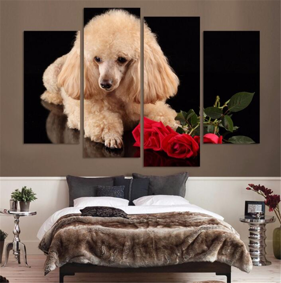 2017 Hot Sale New Unframed 4panel High Quality Funny Animals Oil Painting On Canvas Dog For Living Room No Frame Paintings