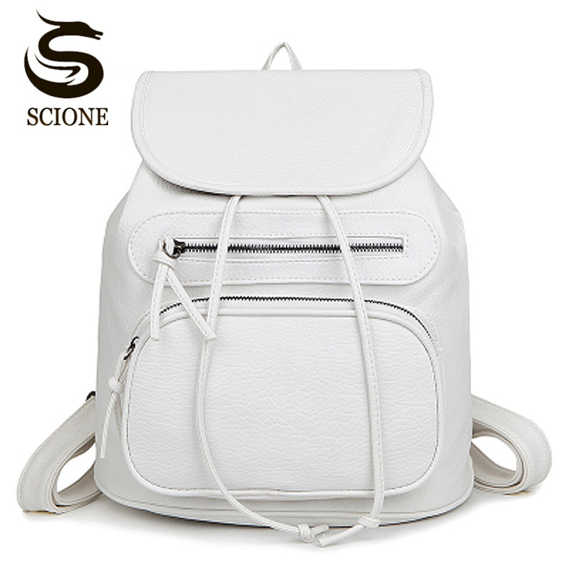 Solid PU Leather Women Backpack Female Travel Rucksack Teenager Student Backpacks Black/White Leather Women Bag mochila escolar men backpack student school bag for teenager boys large capacity trip backpacks laptop backpack for 15 inches mochila masculina