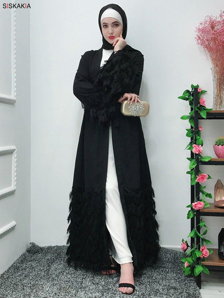 6edabad501 Siskakia Muslim Women Abaya Elegant Noble Party Wear Dubai Cardigan Robes  Plush Tassel Patchwork Ramadan kaftans & Jubah Pink