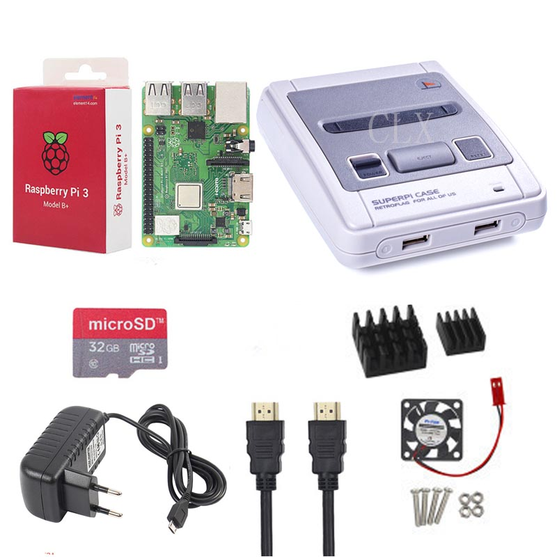 Image 2 - Retroflag SUPERPi CASE J NESPi Case+ Raspberry Pi 3 Model B+(plus)+32GB card+5V 3A Power+Heat Sink+fan+2pcs game handle+HDMI-in Demo Board Accessories from Computer & Office
