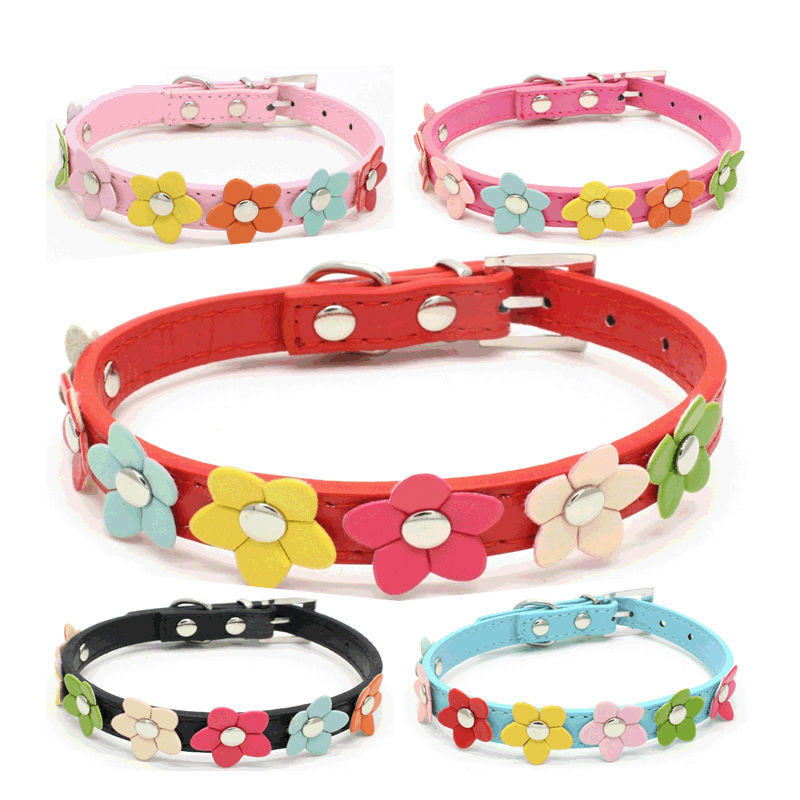 KIYUE 3D Flowers Dog small Dogs Cat Princess Leashes Pet Products Puppy Dog Collar For Small Dogs Army Pet Collars For Animals
