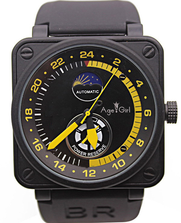 New Mens Watches Black Rubber Bell BR Automatic Mechanical Self Wind LIMITED EDITION AVIATION Moon Day Power Reserve MoonphaseNew Mens Watches Black Rubber Bell BR Automatic Mechanical Self Wind LIMITED EDITION AVIATION Moon Day Power Reserve Moonphase