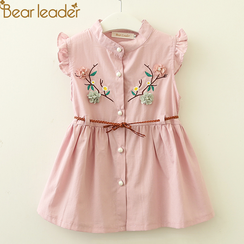 Bear Leader Baby Dresses 2018 New Summer Baby Girls Clothes Flowers Embroidery Princess Newborn Dresses With elt For 6M-24M bear leader baby dresses 2018 new summer baby girls clothes colorful printing dresses with hat 2pcs newborn dresses for 6m 24m