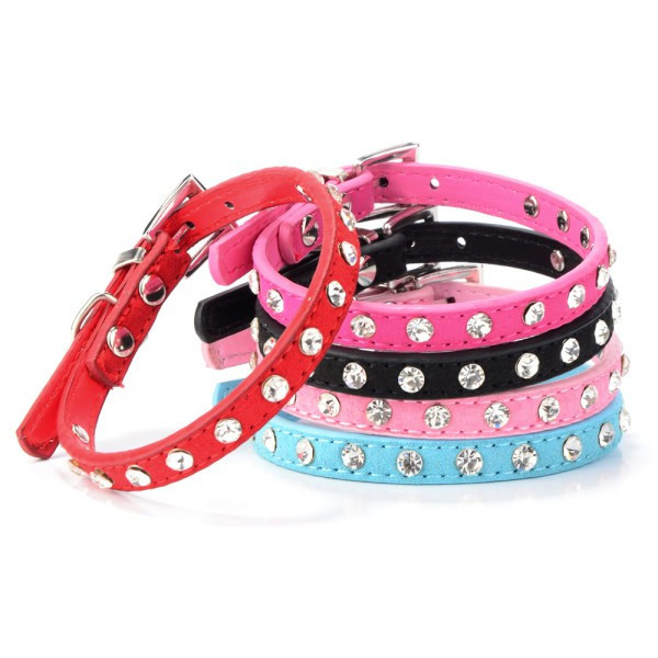 Hot Sales Factory Price! Pet Suede PU Leather Crystal Rhinestone Dog Puppy Cat Collar Necklace XS S M