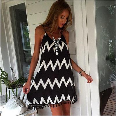 Casual Summer Zig Zag Pattern Graceful Plus Size Dress with Tassel Hem