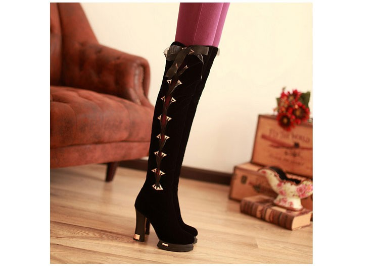 65 2016 Trend New Autumn And Winter Knee-length Womens Boots Thick High-heeled Scrub Boot Classic Round Lace With Women Shoes
