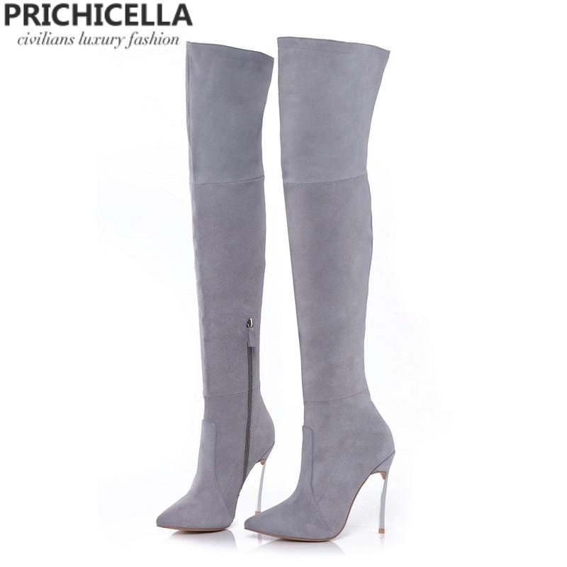 PRICHICELLA 8 cm 10 cm szary prawdziwej skóry nad kolana buty udo wysokie botki size34 42 w Buty za kolano od Buty na  Grupa 1